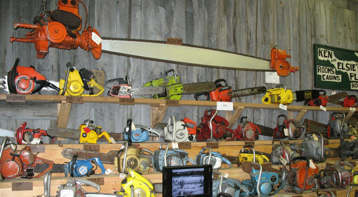 Various types of chainsaws on display